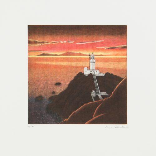 Evening Calm - Mezzotint etsning, signerad och daterad av Masahisa Hirota 1987.