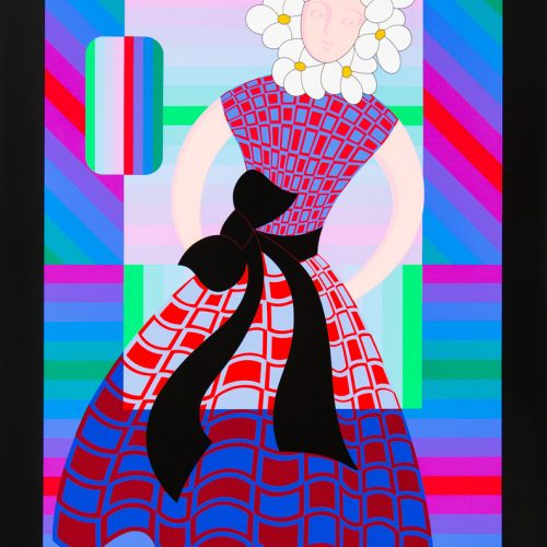 Blomsterflicka - Färgserigrafi, signerat av Victor Vasarely.