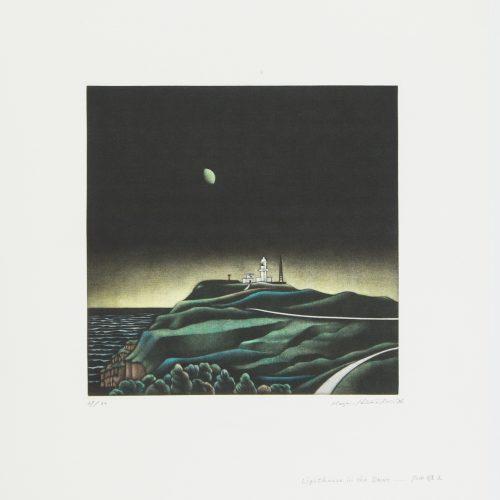 Lighthouse in the Dawn - Mezzotint etsning, signerad och daterad av Masahisa Hirota 1987.