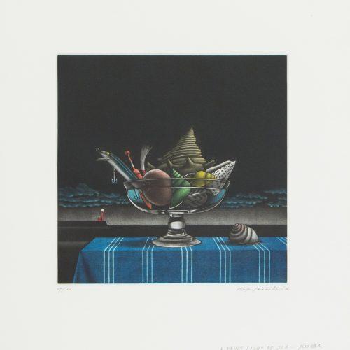 A Faint light of Sea - Mezzotint etsning, signerad och daterad av Masahisa Hirota 1987.
