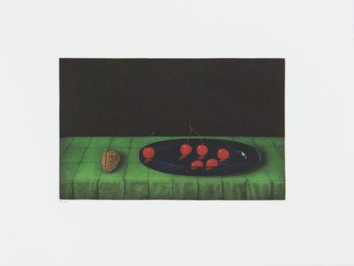 Walnut and Cherries - Mezzotint, signerat av Tomoe Yokoi.