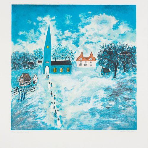 Julotta - Litografi, signerad av Karin Olsson.