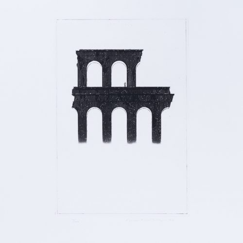 Arkitektura Nr 8 - Akvatint torrnålsgravyr, signerad av Pentti Lumikangas.