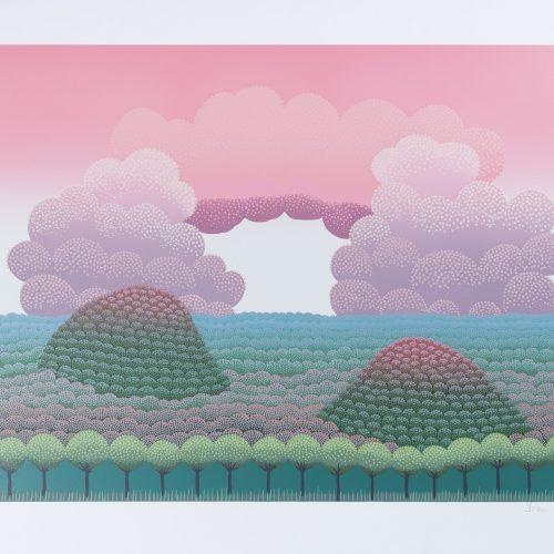 Drömlandskap - Färgserigrafi, signerad av Ivan Rabuzin.