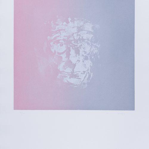 Studie till Samuel Beckett - Etsning, signerad av Louis le Brocquy.