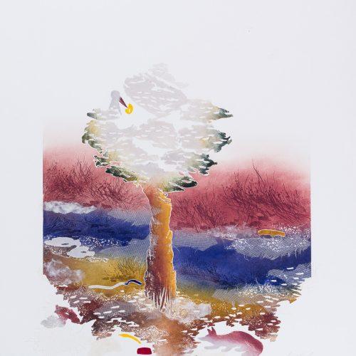 Korpen & Räven - Collage, präglad färgetsning, signerad och daterad 1992 av Francis Méan.