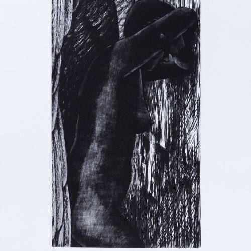 """Den svarta ängeln - Torrnål mezzotint ur mappen """"Mörkrets ljus"""", signerad av Marjatta Nuoreva."""
