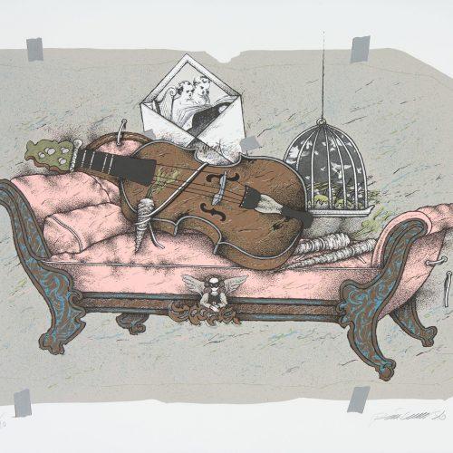 Brev till Mozart III - Färgserigrafi, signerad och daterad av Raimo Kanerva 1986.