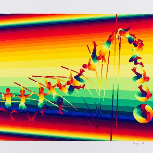 """Stavhopp - Färgserigrafi ur mappen """"Olympiska Spelen"""", signerad och daterad 1988 av Ay-O."""