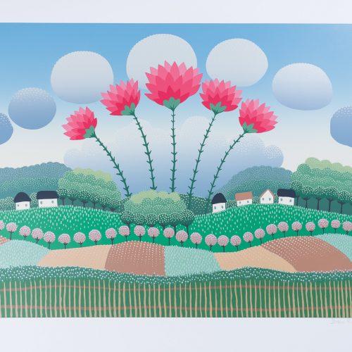 Blomsterbyn - Färgserigrafi, signerad av Ivan Rabuzin.