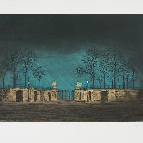 Tuilerierna - Etsning, signerad av J.J.J. Rigal.