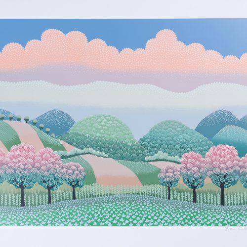 Böljande Landskap - Färgserigrafi, signerad av Ivan Rabuzin.