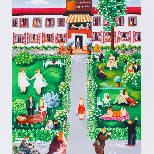Tallmogården - Handkolorerad litografi, signerad av Marion Belin.