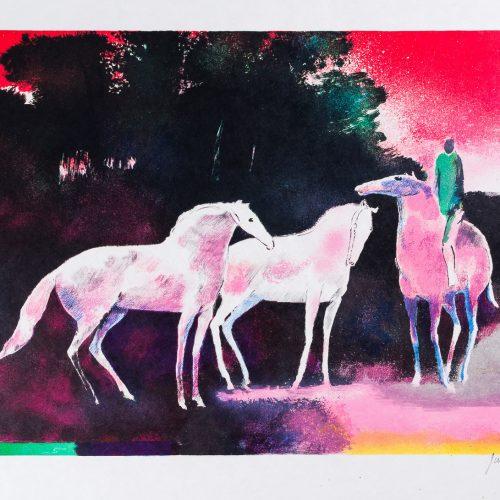 Cavalier (Ryttare) - Färglitografi, signerad av Paul Guiramand.