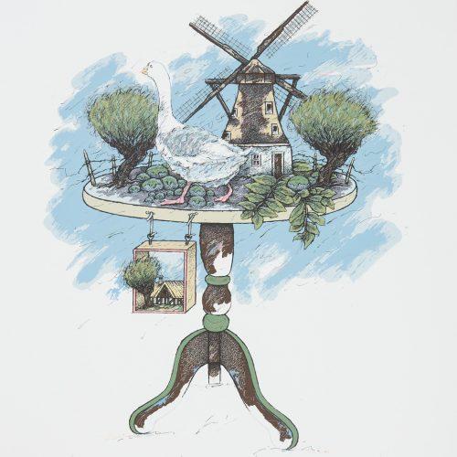 Skånebordet - Färgserigrafi, signerad och daterad av Raimo Kanerva 1987.