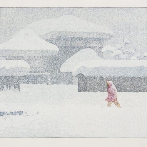 Snow Country I - Litografi, signerat och daterad av Tōshi Yoshida 1986.