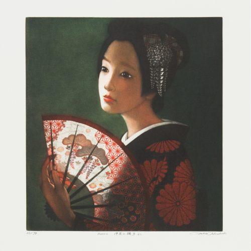 Kaoru - Färgmezzotint, signerat av Ushio Takahashi.