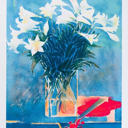 Violon sous les lys (Violin under liljorna) - Färglitografi, signerad av Paul Guiramand.