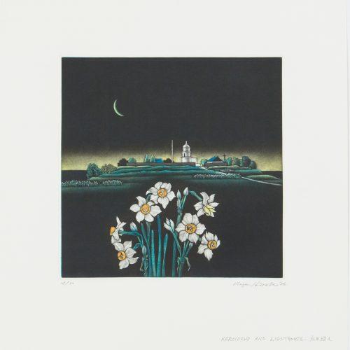 Narcissus and Lighthouse - Mezzotint etsning, signerad och daterad av Masahisa Hirota 1987.
