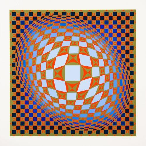 """Louisiana 3 - Färgserigrafi, (1 av 6) ur mappen """"Louisiana"""" utgiven av Galerie Börjeson 1985. Signerad av Victor Vasarely."""
