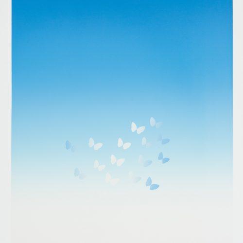 Sommarfjärilar - juni - Färgserigrafi, signerad av Kozo Inoue.