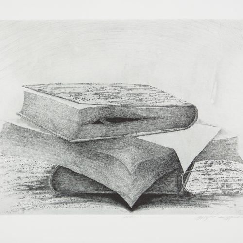 Books - Etsning, signerad av Mayumi Morino.