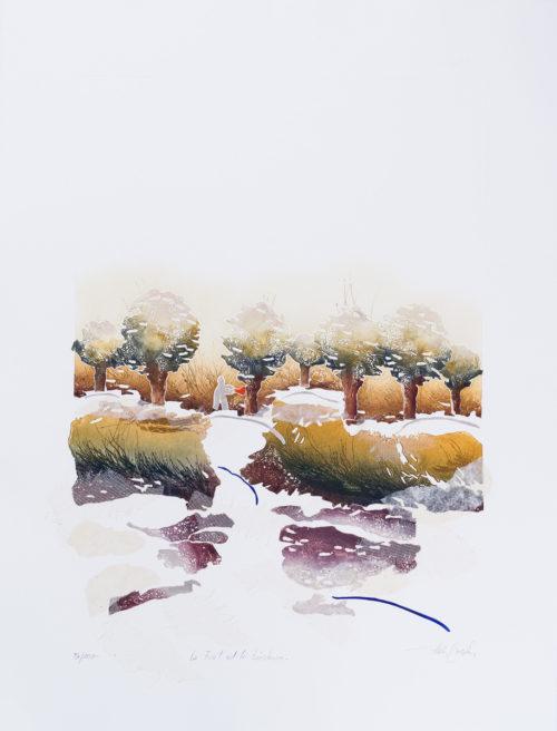 Skogen & Vedhuggaren - Collage, präglad färgetsning, signerad och daterad 1992 av Francis Méan.