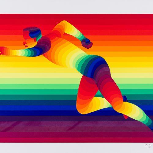 """100 m Herrar - Färgserigrafi ur mappen """"Olympiska Spelen"""", signerad och daterad 1988 av Ay-O."""