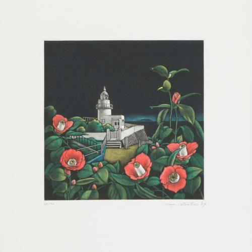 Camelia and Lighthouse - Mezzotint etsning, signerad och daterad av Masahisa Hirota 1987.