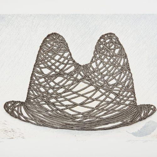 Man's Hat - Etsning, signerad av Mayumi Morino.