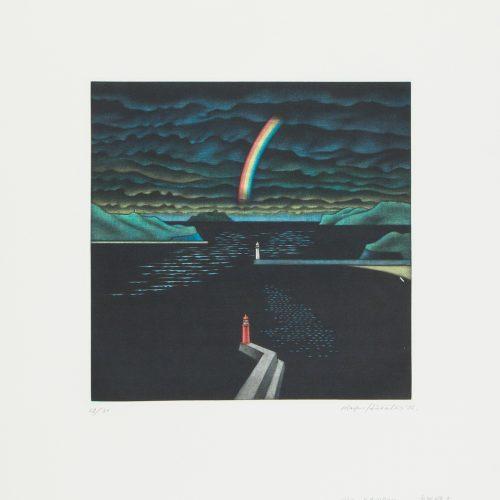Rainbow - Mezzotint etsning, signerad och daterad av Masahisa Hirota 1987.