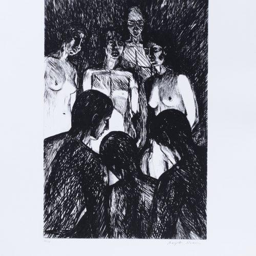 """Ljuset - Torrnål mezzotint ur mappen """"Mörkrets ljus"""", signerad av Marjatta Nuoreva."""