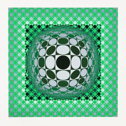 """Louisiana 2 - Färgserigrafi, (1 av 6) ur mappen """"Louisiana"""" utgiven av Galerie Börjeson 1985. Signerad av Victor Vasarely."""