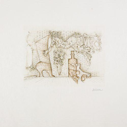 Souterrain - Etsning på rispapper, signerad av Hans Bellmer.