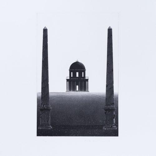 Arkitektura Nr 7 - Akvatint torrnålsgravyr, signerad av Pentti Lumikangas.