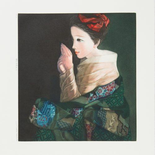 Sleeping beauty - Färgmezzotint, signerat av Ushio Takahashi.