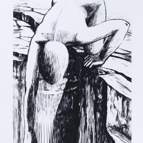 """Förlorad - Torrnål mezzotint ur mappen """"Mörkrets ljus"""", signerad av Marjatta Nuoreva."""