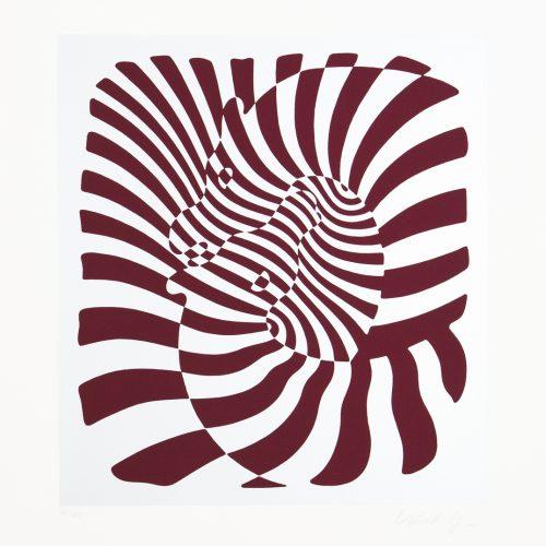 Zebrapar (silver) - Färgserigrafi, signerat av Victor Vasarely.